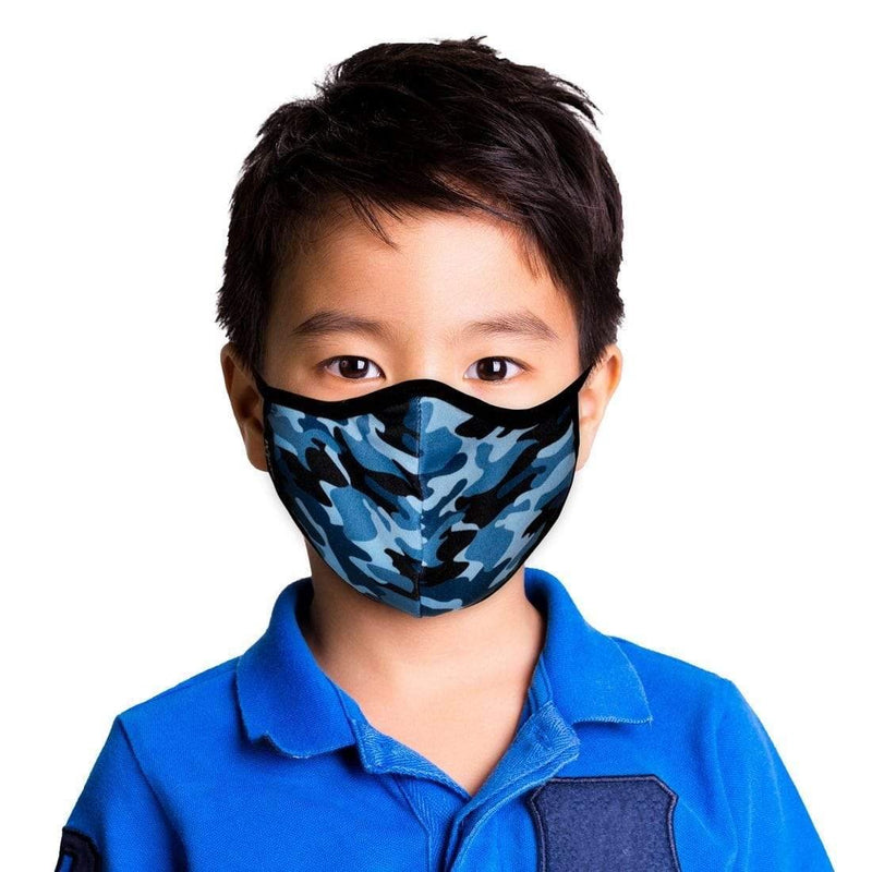 KIDS BLUE CAMO FACE MASK WITH FILTER POUCH-MASQD-Kitson LA