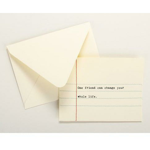 ONE FRIEND CAN CHANGE LIFE HAND SEWN CARD-SECOND NATURE BY HAND-Kitson LA