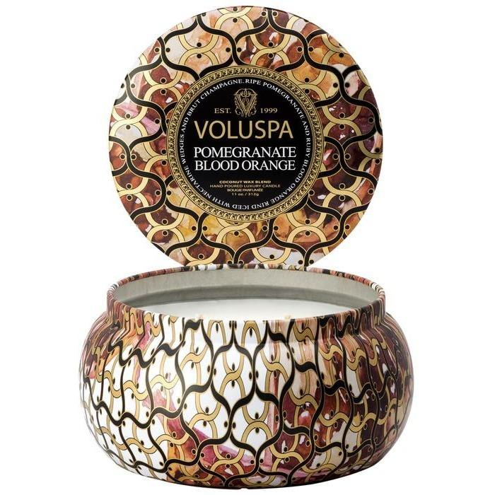 POMEGRANATE BLOOD ORANGE 2 WICK MAISON METALLO CANDLE-VOLUSPA-Kitson LA