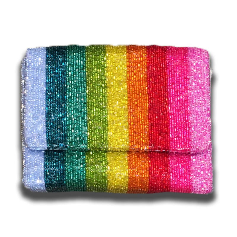 RAINBOW STRIPE BEADED BOX BAG-TIANA DESIGNS-Kitson LA