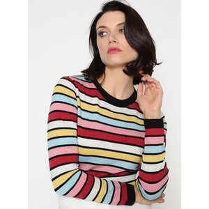 RAINBOW STRIPED VISCOSE/LUREX LS CREW-MINNIE ROSE-Kitson LA
