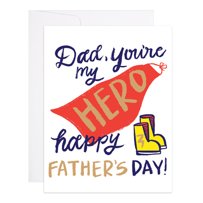 SUPERHERO DAD CARD-9TH LETTER PRESS-Kitson LA