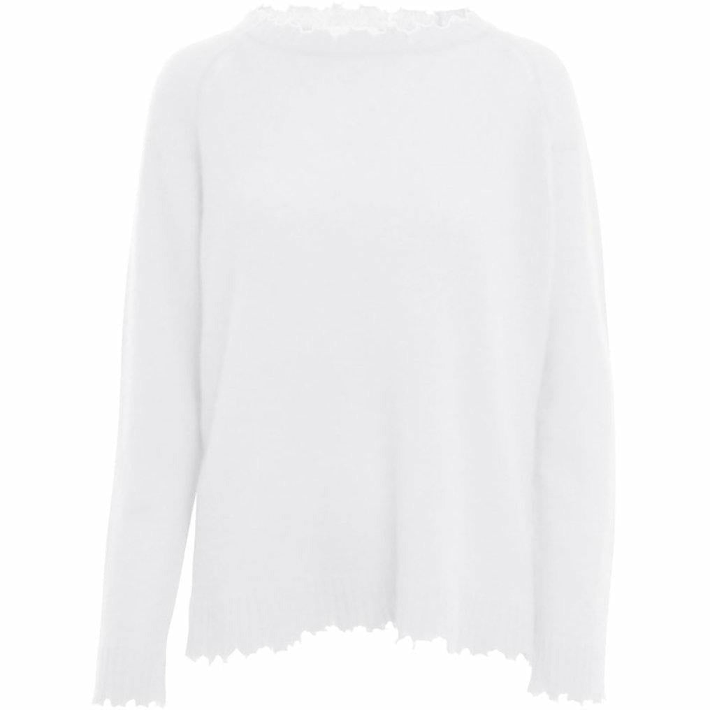 WHITE LONG SLEEVE CREW SWEATER-MINNIE ROSE-Kitson LA