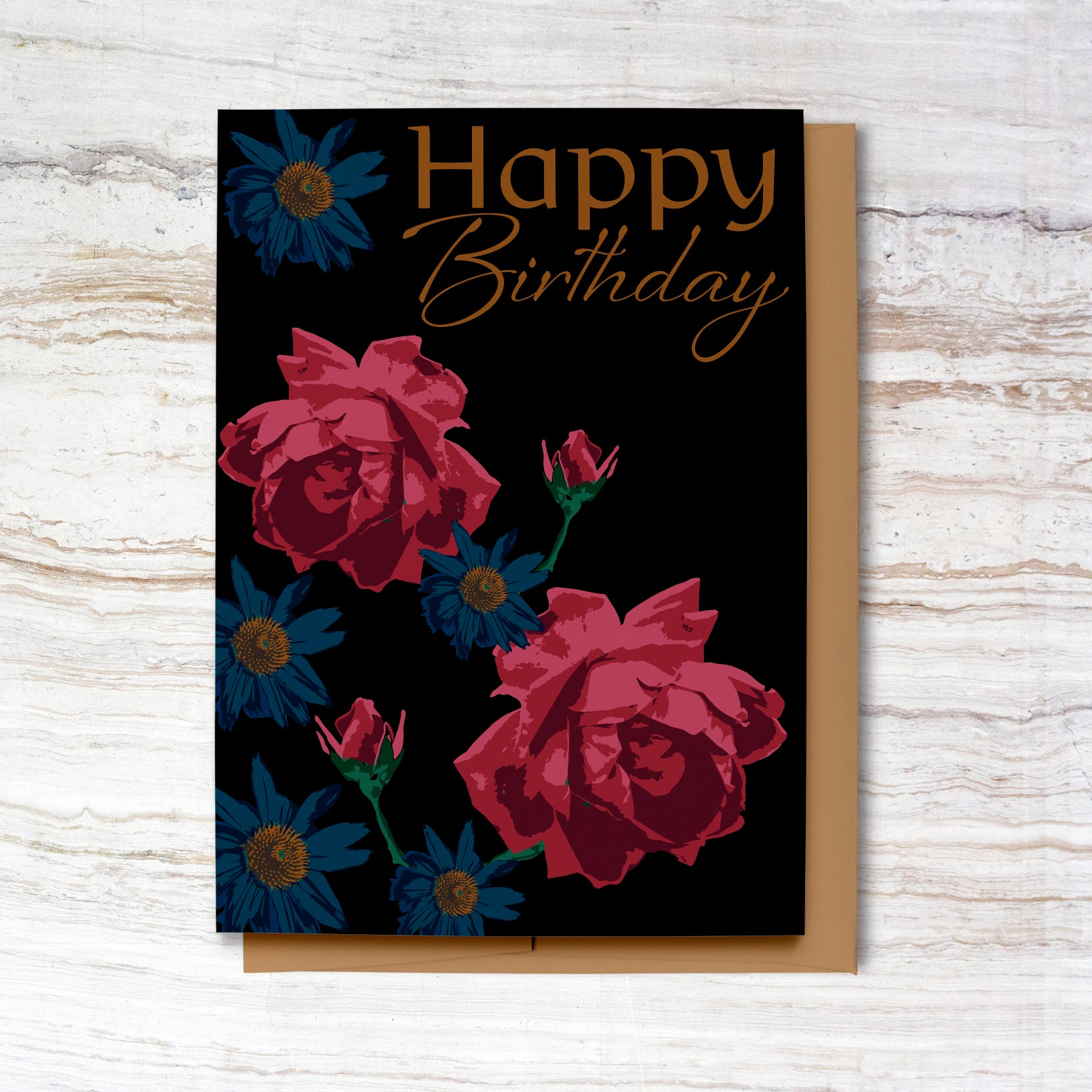 New! Moody Roses Happy Birthday Card