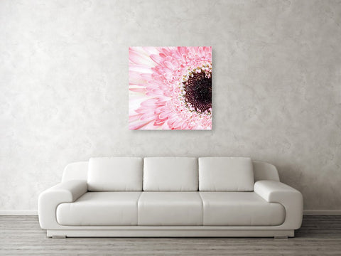 Mockup of metal print on wall above couch in room