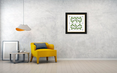 Mockup of framed art hanging on a wall in a room