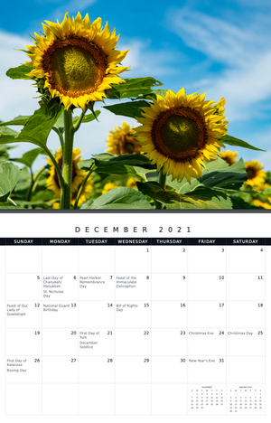 2021 Sunflowers Calendar