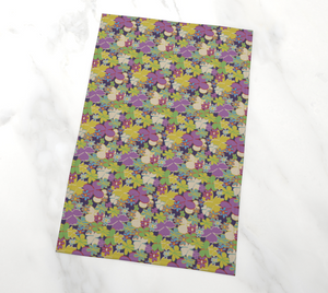 Bright Blooms on Dark Purple Tea Towel