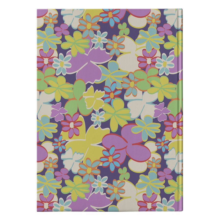 Bright Blooms on Dark Purple Hardcover Journal