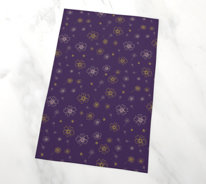 Charming Blooms on Grape Tea Towel