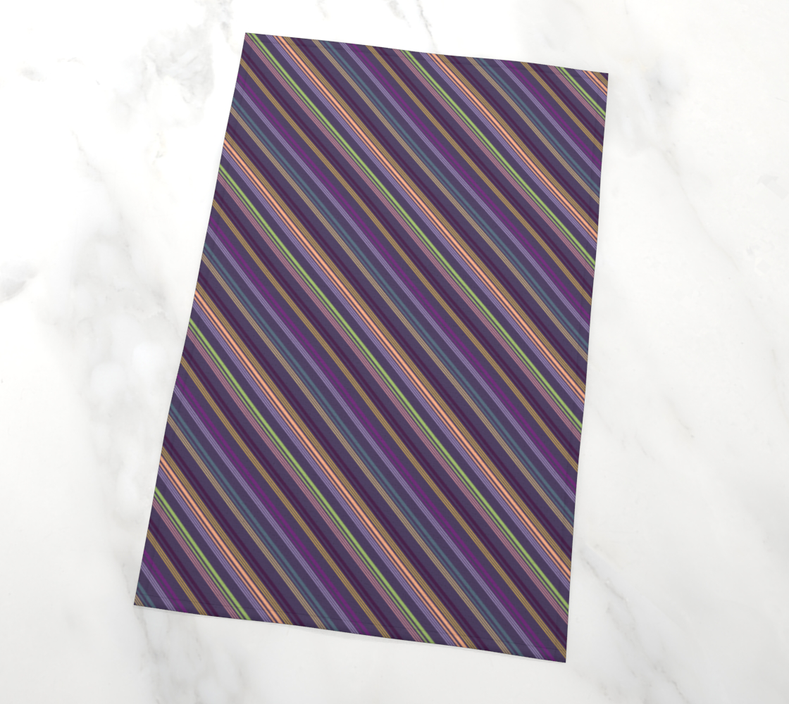 Flowers & Feathers Diagonal Stripes Tea Towel