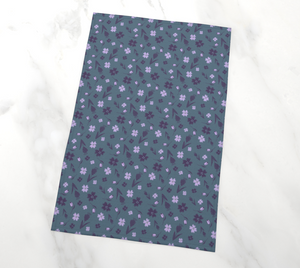 Flowers & Feathers Purple Tea Towel
