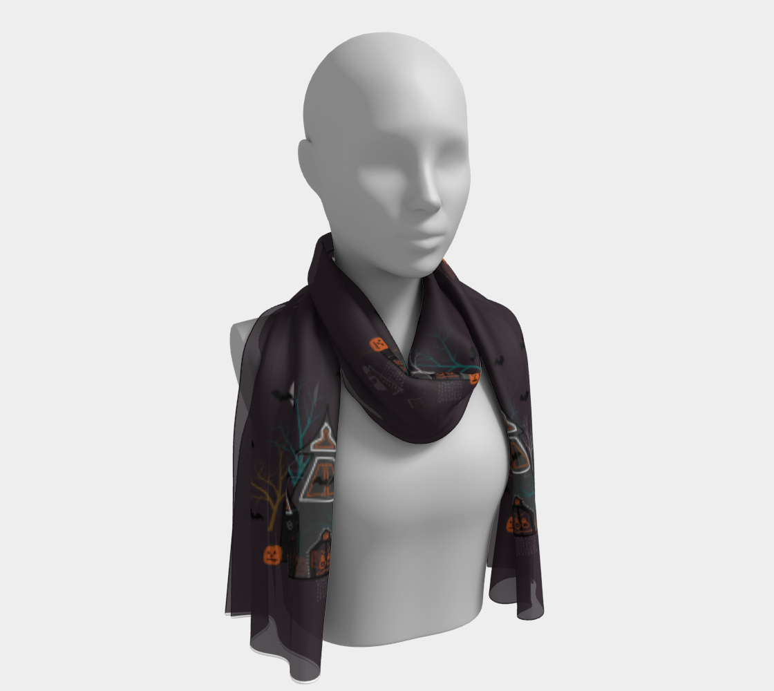 Halloween Haunted Houses Long Scarf