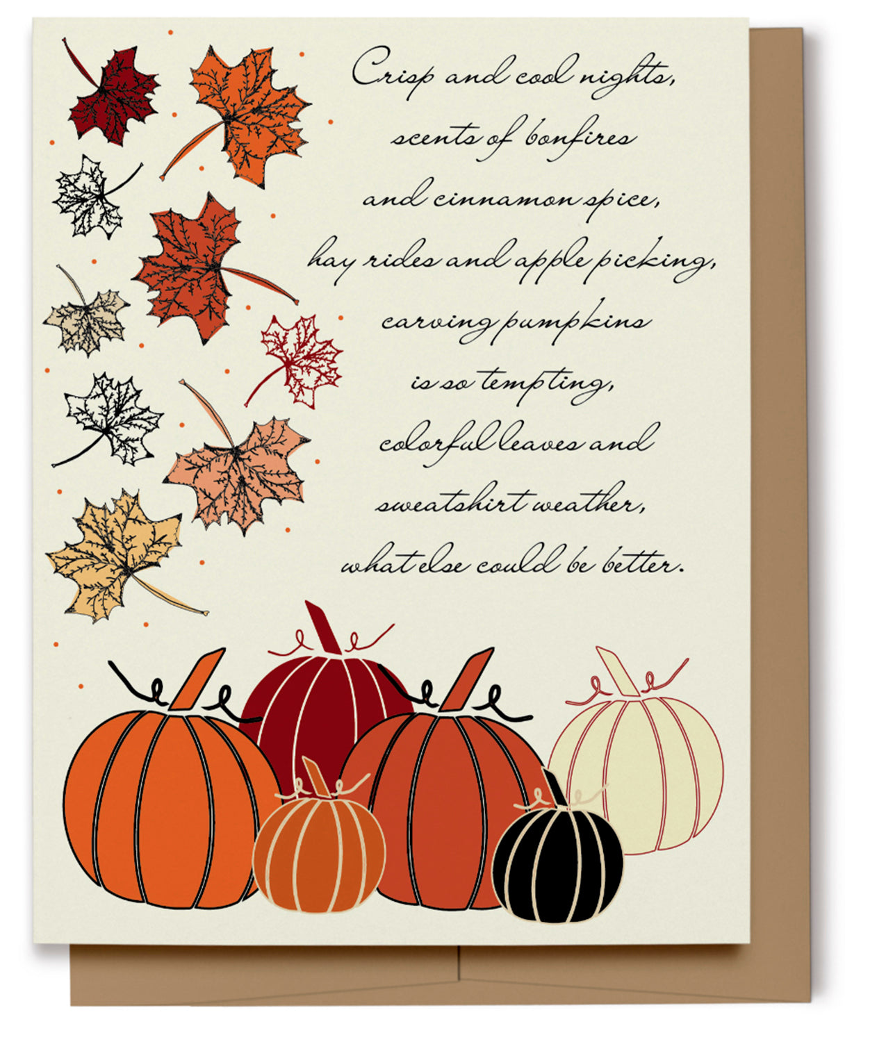 Pumpkins & Autumn Leaves Card (100% Recycled)