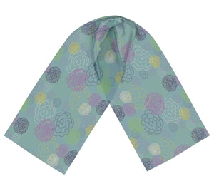 Aqua Flower Blooms Long Silk Scarf
