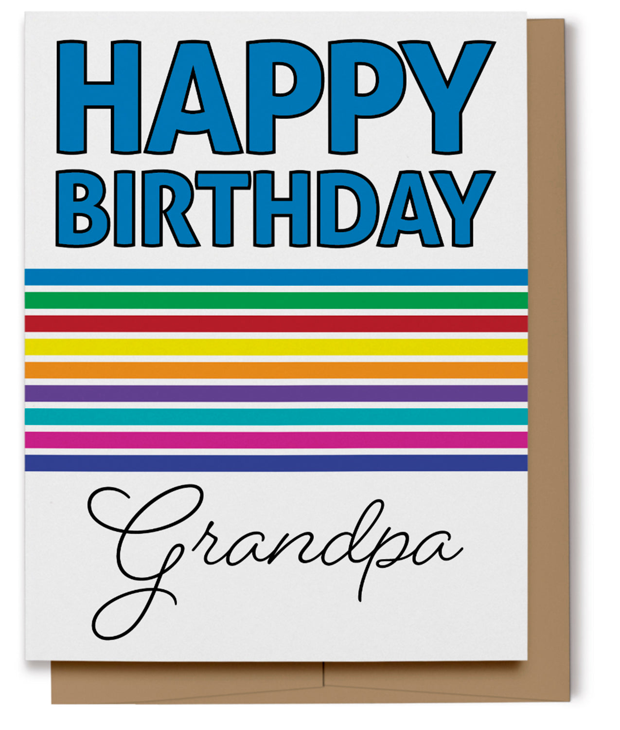 Bold Rainbow Happy Birthday Card for Grandpa (100% Recycled)