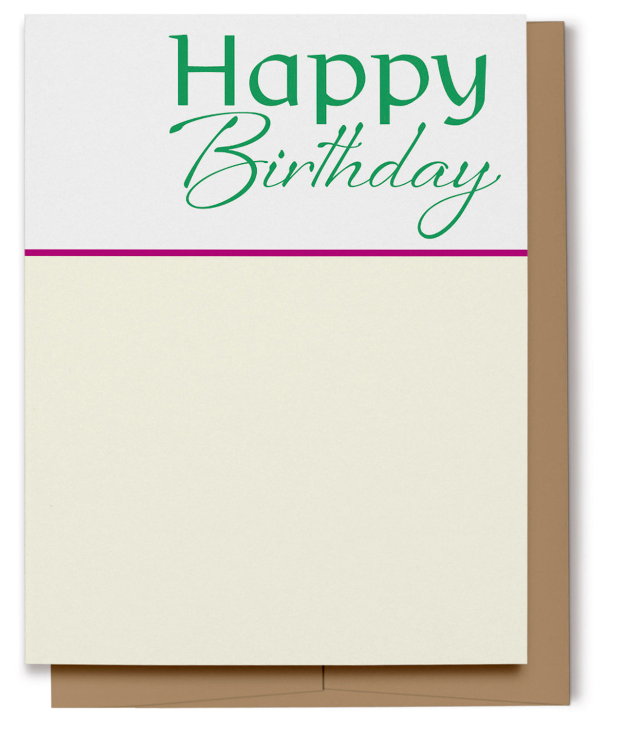 Happy Birthday Card - Green & Cream (100% Recycled)