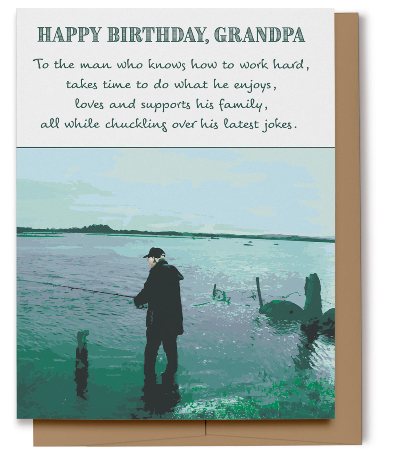 Happy Birthday Grandpa Fishing Card (100% Recycled)