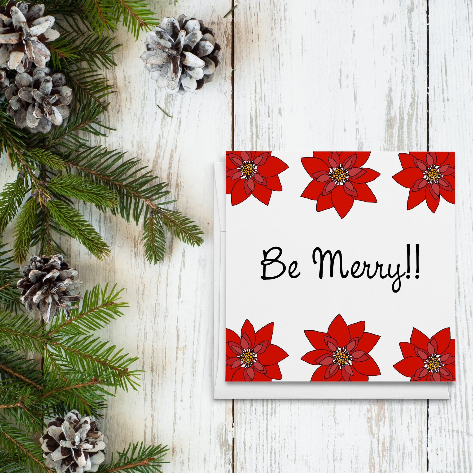 Be Merry Poinsettias Greeting Cards