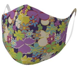 Bright Blooms on Dark Purple Double Knit Face Mask