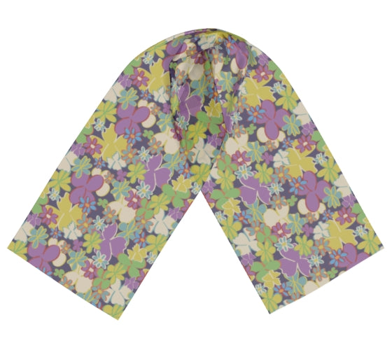 Bright Blooms on Dark Purple Long Silk Scarf
