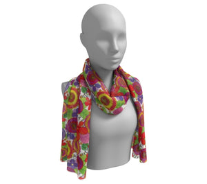 Bright & Cheery Floral Pattern Long Silk Scarf