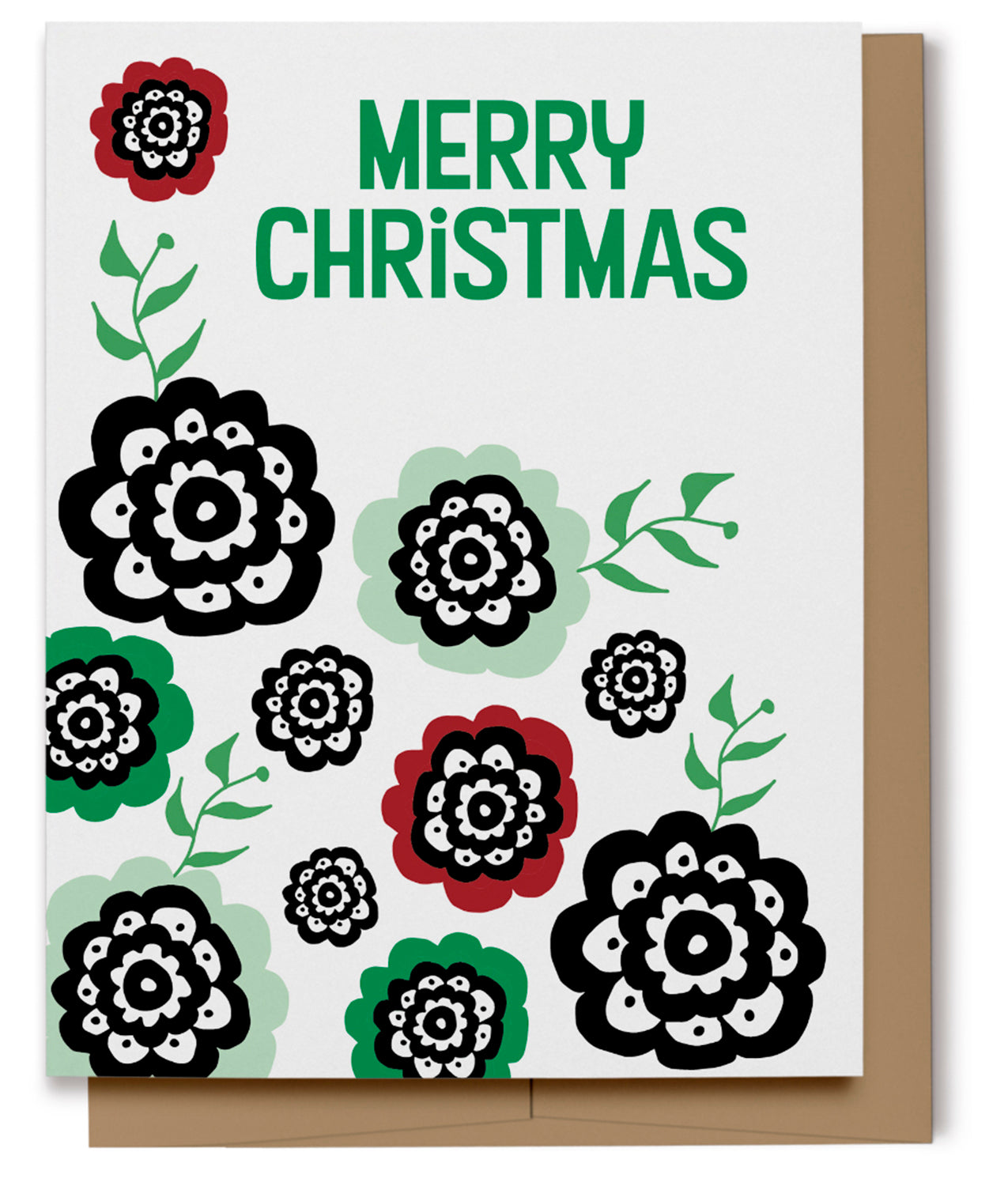 Merry Christmas Flowers Card (100% Recycled)