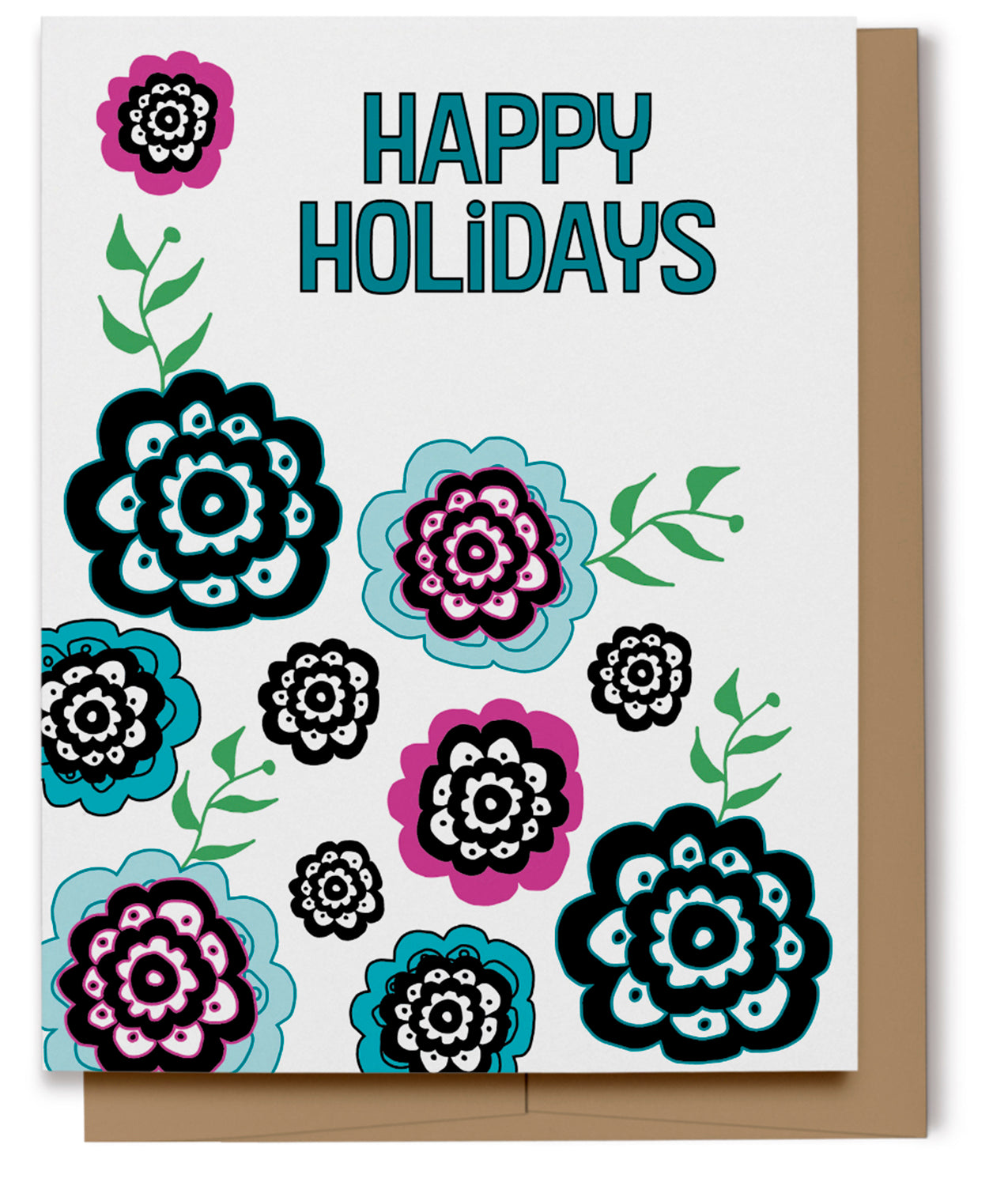 Happy Holidays Flowers Card (100% Recycled)