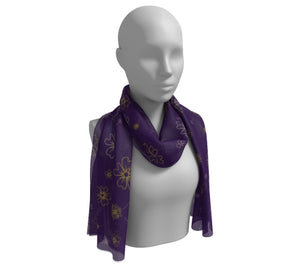 Charming Blooms on Grape Long Silk Scarf