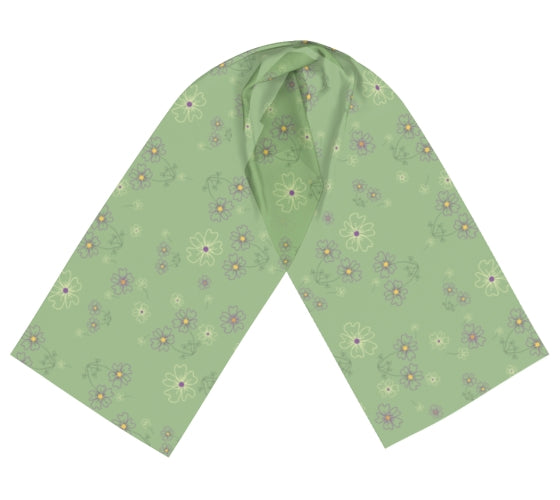 Charming Blooms on Mint Long Silk Scarf