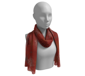 Flaming Red Kabuki Long Silk Scarf