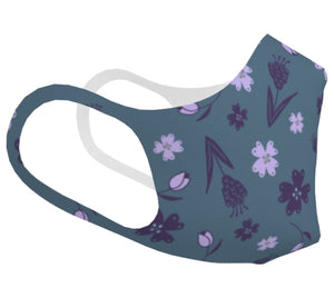 Flowers & Feathers Purple Double Knit Face Mask