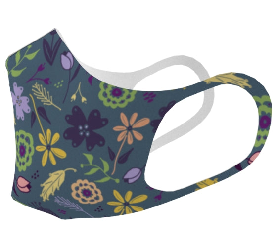 Flowers & Feathers Teal Double Knit Face Mask