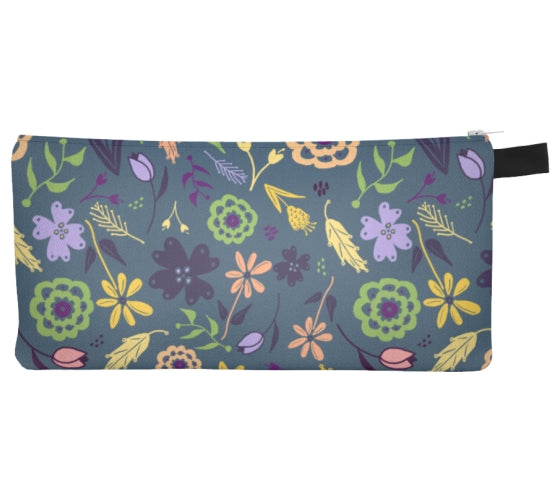 Flowers & Feathers Teal Pencil Case