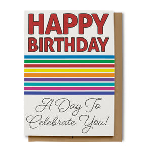 Bold Rainbow Happy Birthday Card - Red (100% Recycled)
