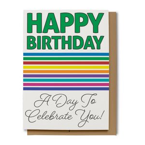 Bold Rainbow Happy Birthday Card - Green (100% Recycled)