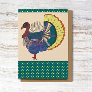 Green Polka Dot Happy Thanksgiving Card (100% Recycled)