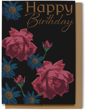 Moody Roses Happy Birthday Card (100% Recycled)
