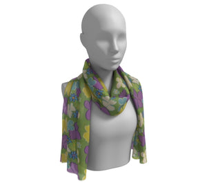 Green Bright Blooms Long Silk Scarf