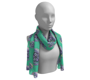 Green Watercolor Mandala Long Silk Scarf