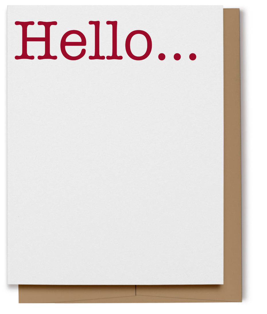 Hello Card - Red (100% Recycled)