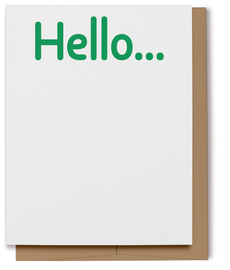 Hello Card - Green (100% Recycled)
