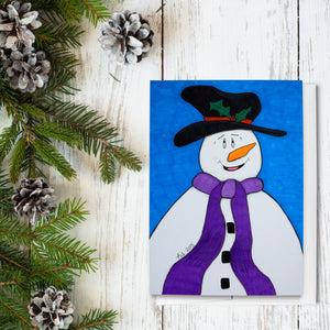 Happiness Snowman Folded Greeting Cards