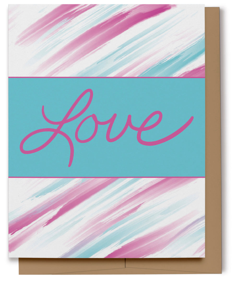 Aqua & Pink Love Card (100% Recycled)