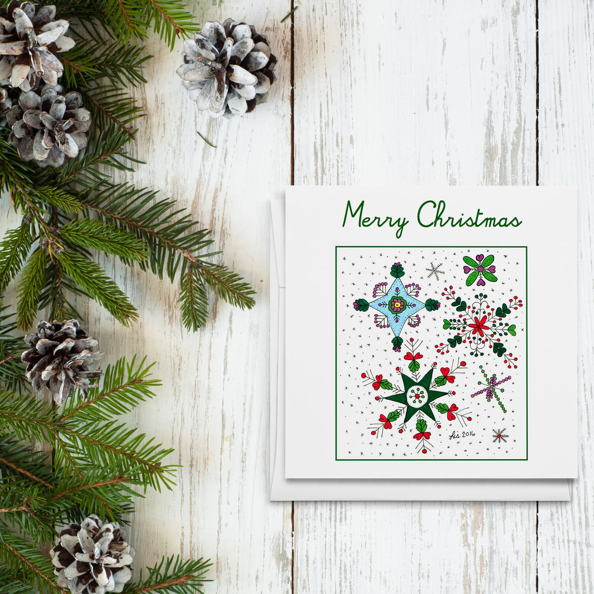 Merry Christmas Snowflakes Folded Greeting Cards