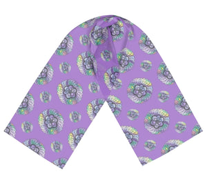 Purple Watercolor Mandala Long Silk Scarf