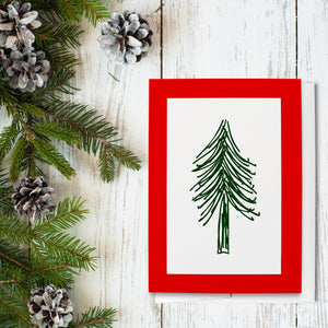 Red & Green Tree Folded Greeting Cards