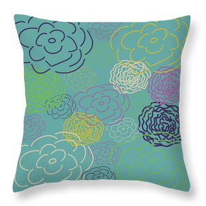 Aqua Flower Blooms Throw Pillows