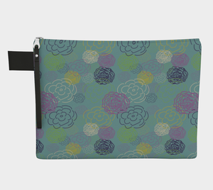 Aqua Flower Blooms Carry-All Pouch
