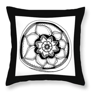 Black Flower Mandala Throw Pillows